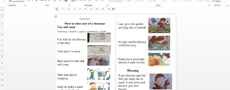 Harry and the Bucket full of dinosaurs InstructionYear 1 and EYFS