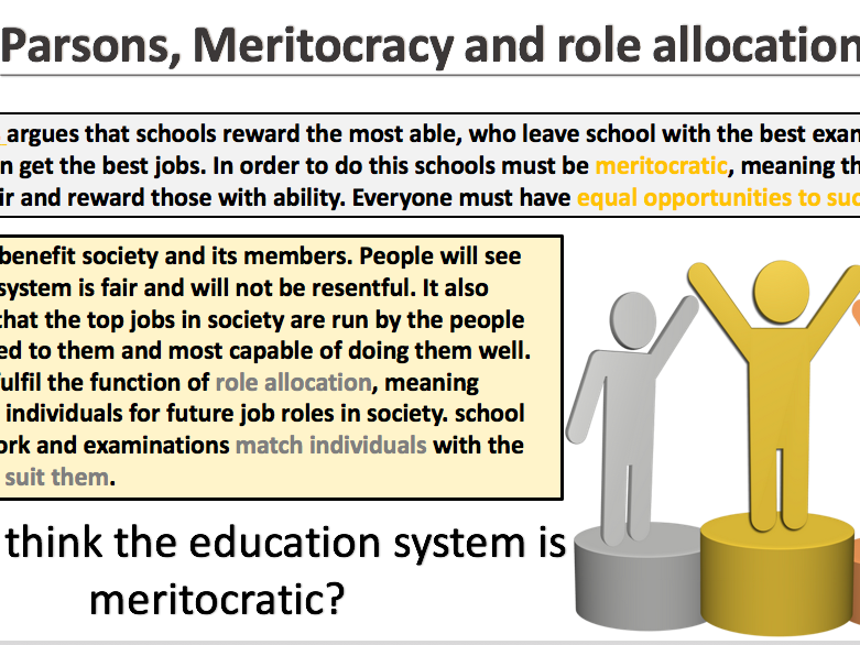 GCSE Sociology- The Functionalist view of education