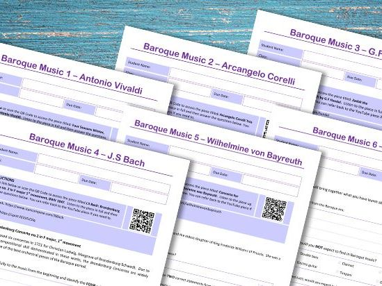 Baroque Composers Homework Pack