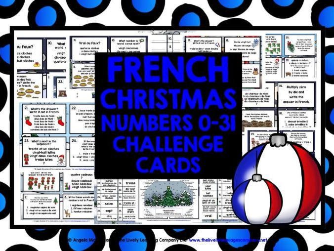 CHRISTMAS: FRENCH NUMBERS 0-31 CHRISTMAS CHALLENGE CARDS