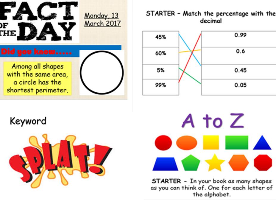 Maths starter and plenary activities
