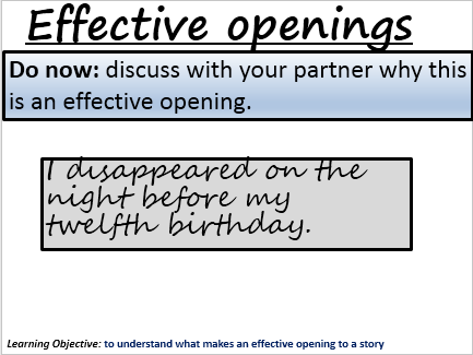 Effective openings- improving creative writing