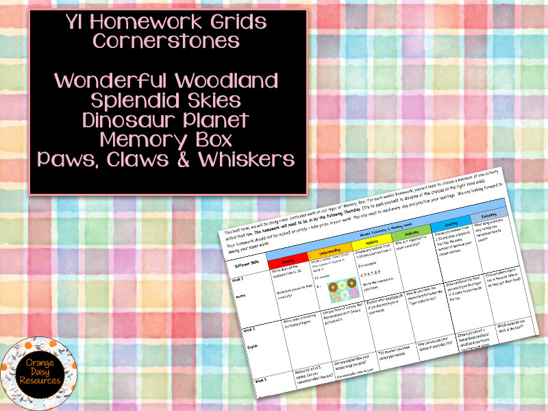 5 Y1 Cornerstones Themed Homework Grids