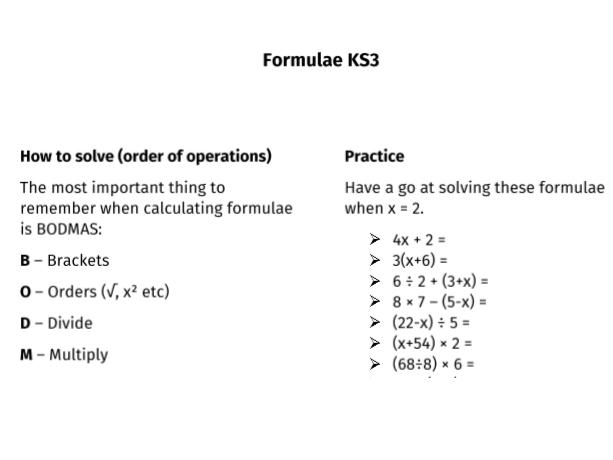 Formula Activity KS3