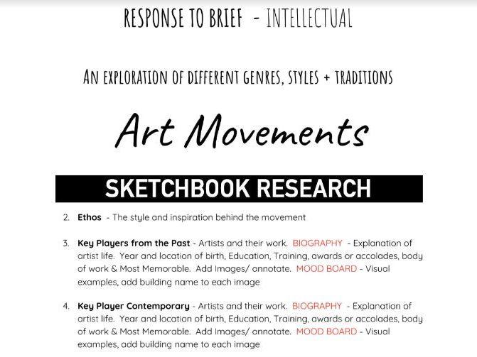ART & DESIGN AQA   Artist Styles Sketchbook RESEARCH