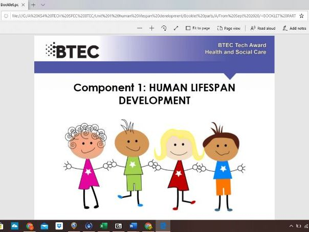 Human lifespan development - BTEC Health and Social care. Work booklet .  Part 2 of a series of 6.