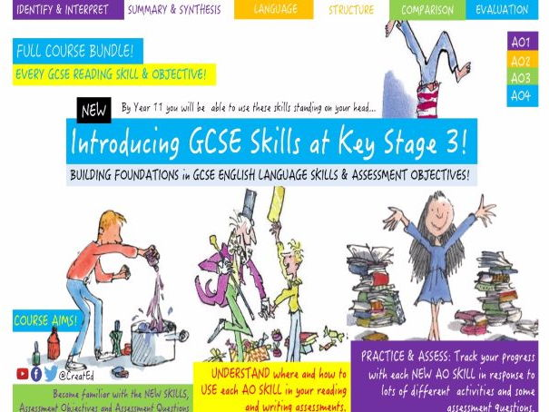 Building Foundations at Key Stage 3 in NEW English GCSE Skills 5 x WEEK BUNDLE, AO1, AO2, AO3 & AO4!