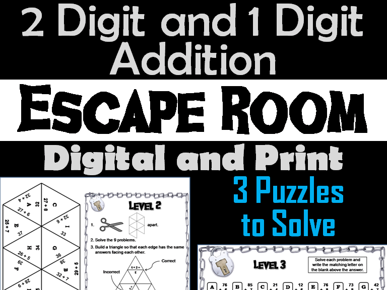 Two Digit and One Digit Addition Escape Room
