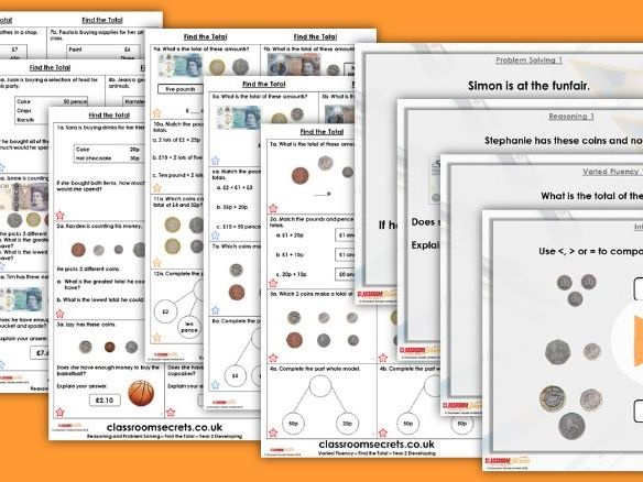 Year 2  Find the Total Autumn Block 3 Step 7 Lesson Pack