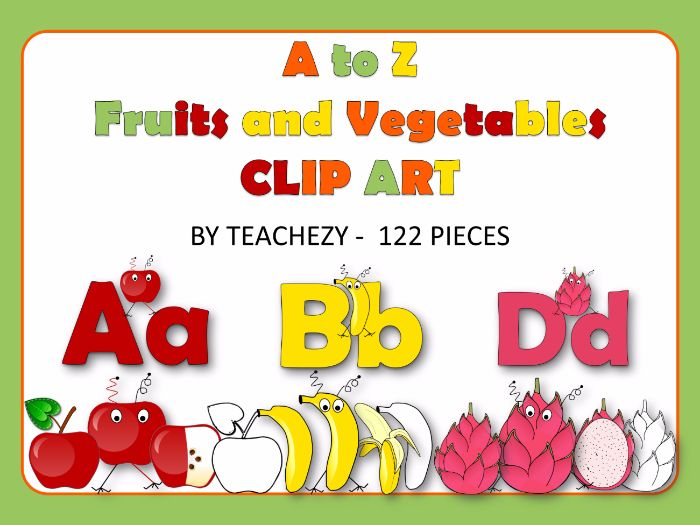 A to Z Fruits and Vegetables Clip Art Pack personal and commercial use
