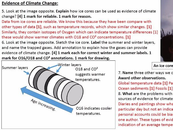 NEW OCR B Enquiring Minds Syllabus Year 9 9) Climate Change Topic Test WITH ANSWERS
