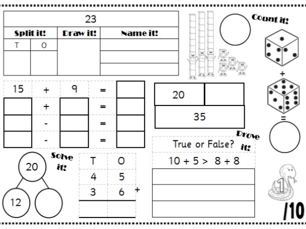 Maths Mats Morning Work