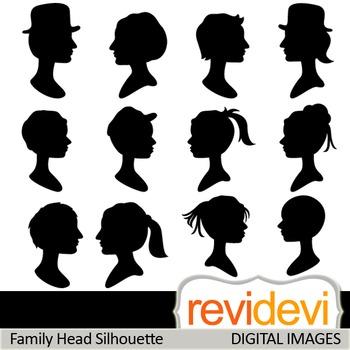 Clip art Family Head Silhouette 07410 (teacher resource clipart)