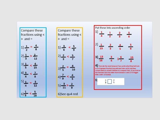 Comparing fractions year 6 lesson 2