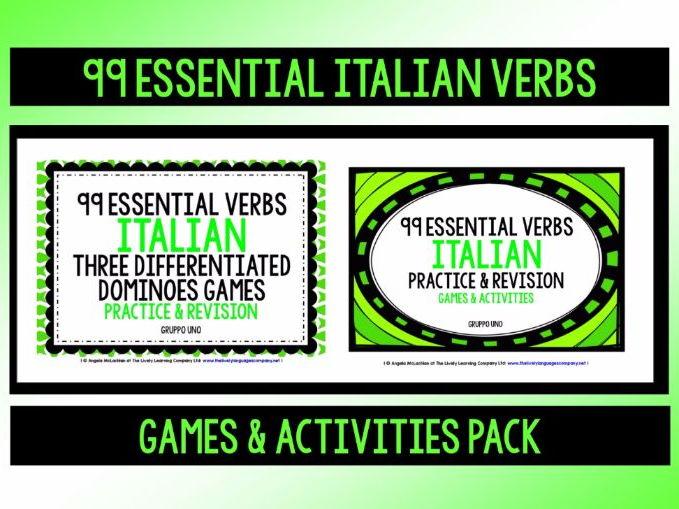 ITALIAN VERBS (1) - PRACTICE & REVISION PACK - 99 VERBS