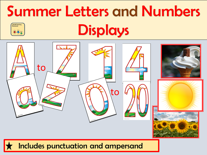 Alphabet and Numbers Display: Summer Season inc Punctuation symbols and Summer Photos