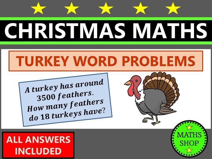 Christmas Maths Word Problems Turkey Themed Maths