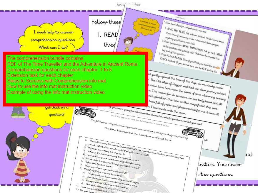 Reading skills comprehension for KS2 with content domain questions and videos.