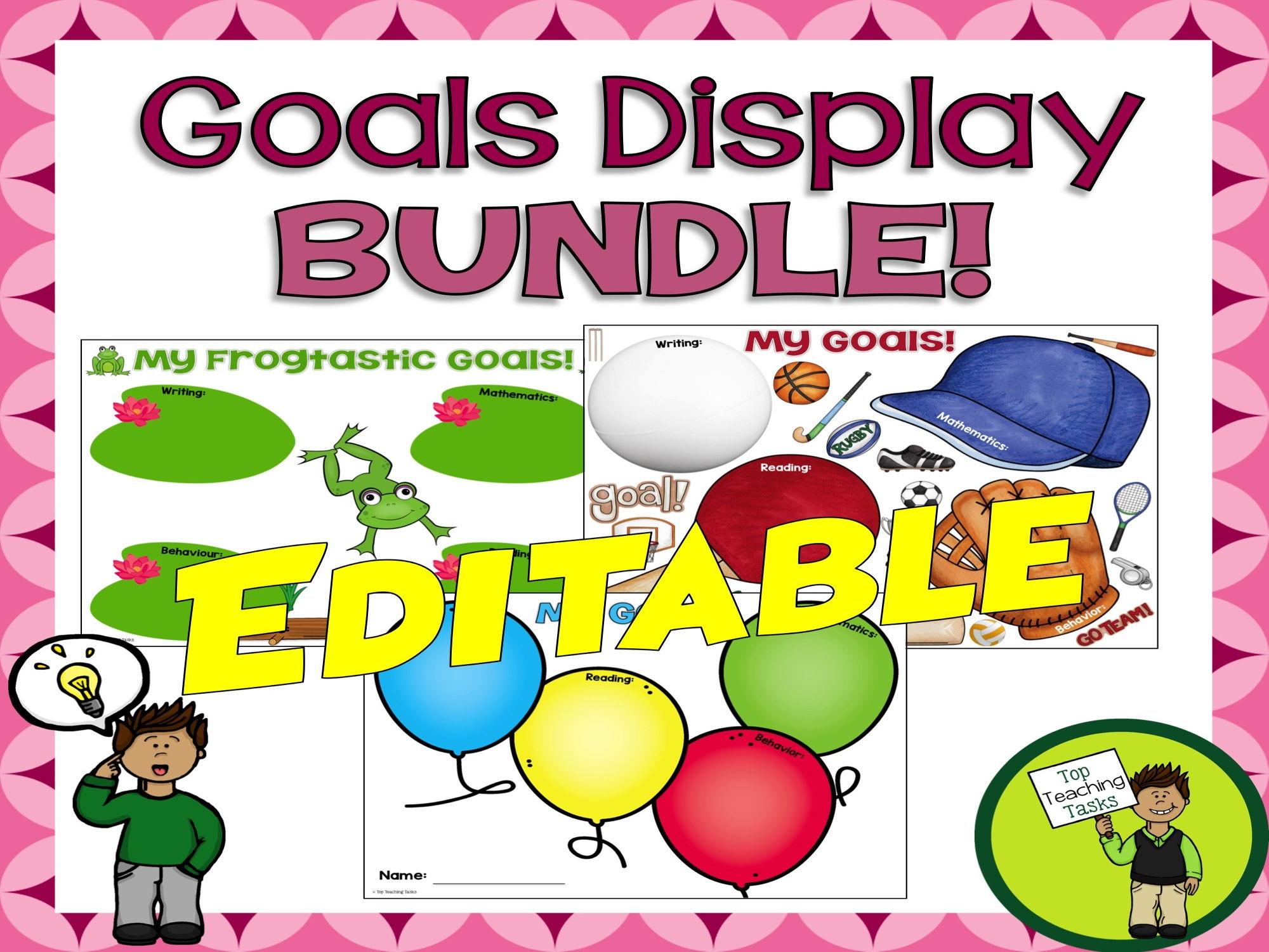 USA Student Goal Display BUNDLE! Sport, Frog AND Balloon Themed - Editable