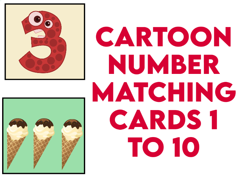 Cartoon Number Matching Cards 1 to 10