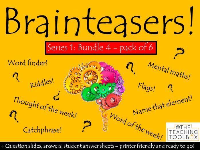 Brainteasers - Series 1 - Bundle 4 - Form / Tutor Time Quiz Activity