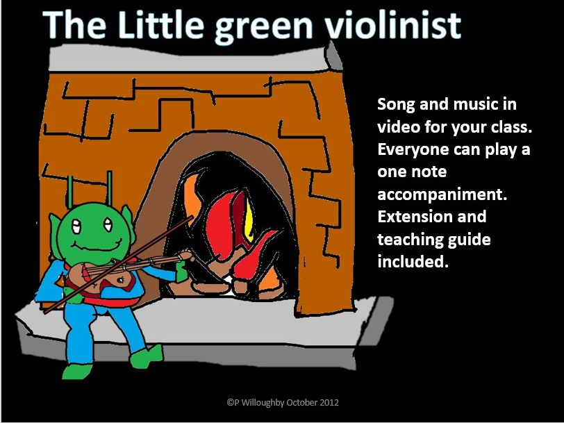 The green violinist music to sing and play . From one note to more. Non specialist