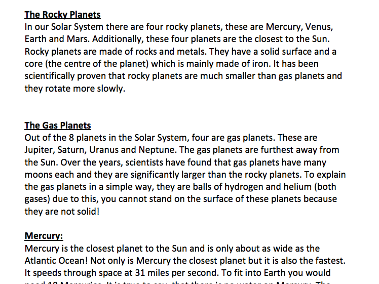 Year 5 Planets Encyclopedia