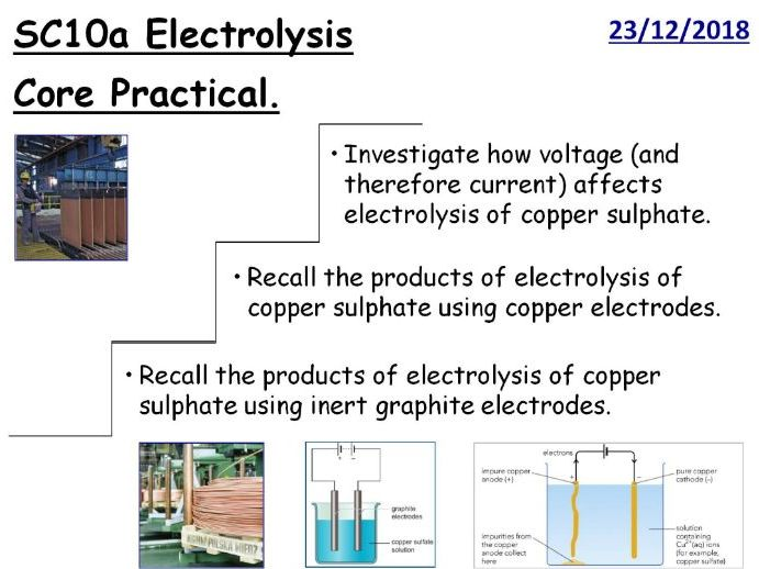 Electrolysis of Copper Sulphate GCSE Core Practical Lesson (CC10a)