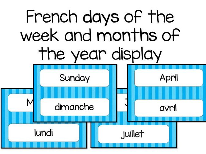 French Days and Months Display