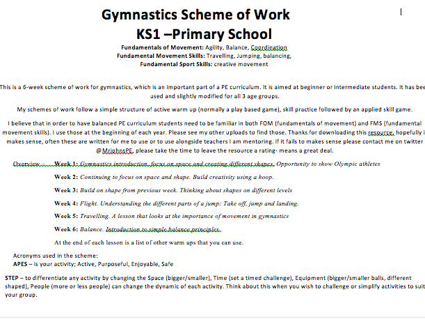 Gymnastics KS1 Sample