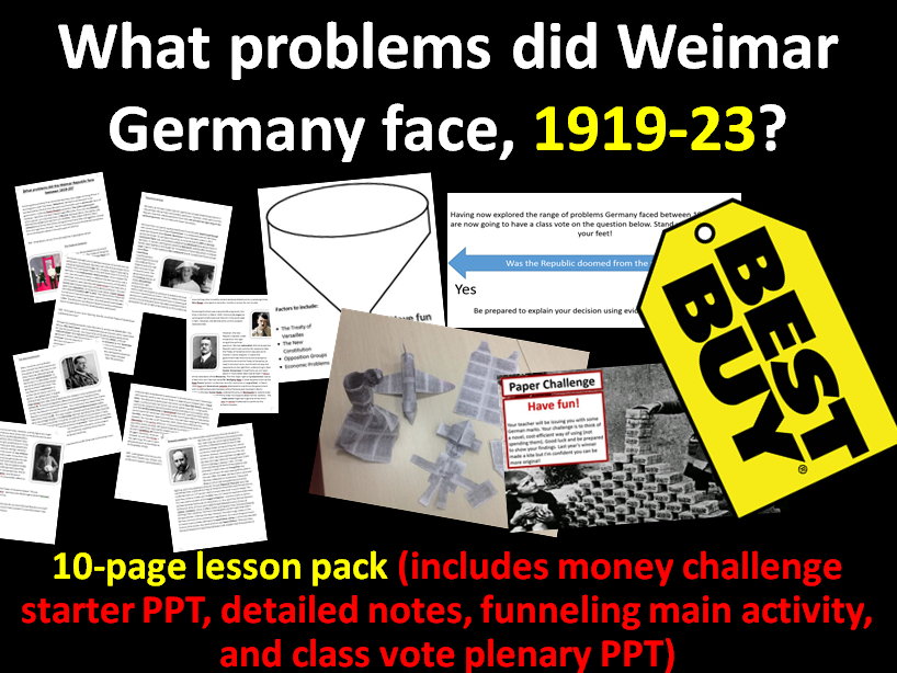 Weimar's Early Problems 1919-23 - 10-page full lesson (starter, notes, funneling activity, plenary)
