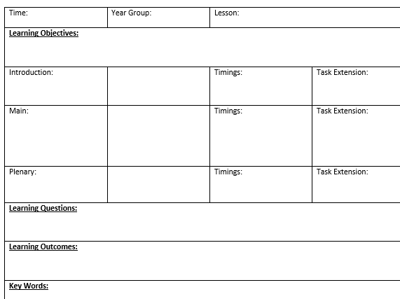 Blank lesson plan template suitable for NQTs/ Lesson observations/PGCE