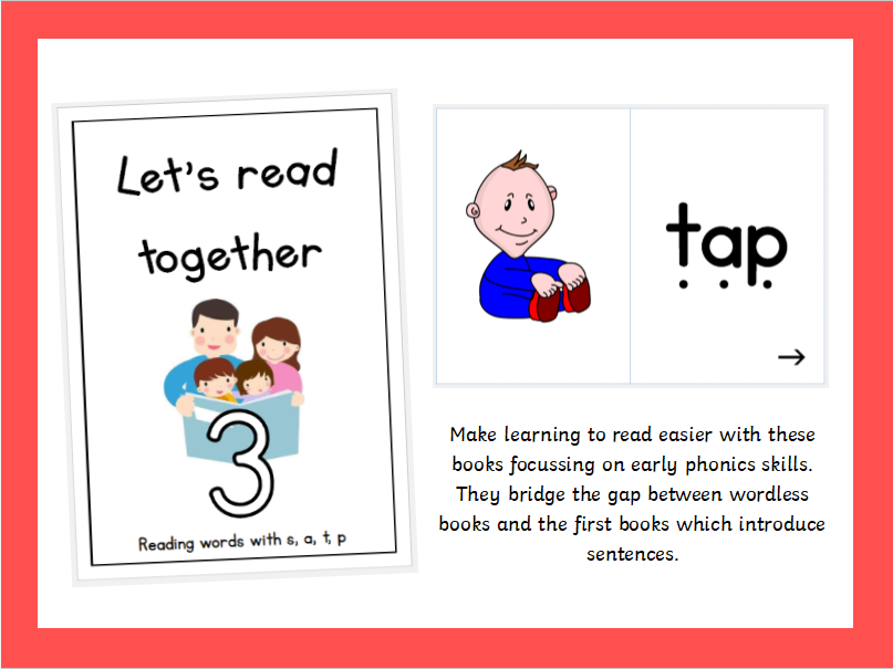 Pre-reader series: Let's Read Together - Book 3, Reading words with s, a, t, p