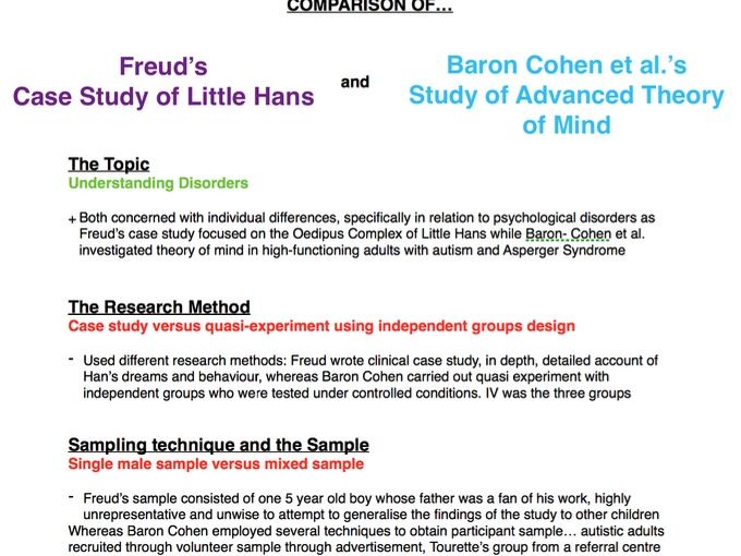 Psychology AS/A Level: Comparing Freud's study with Baron Cohen's