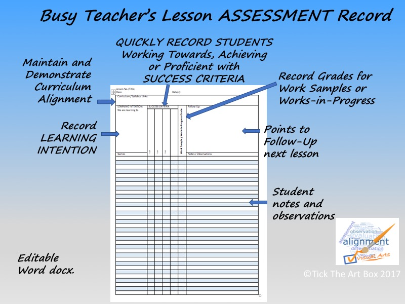 Busy Teacher's Lesson Assessment Record