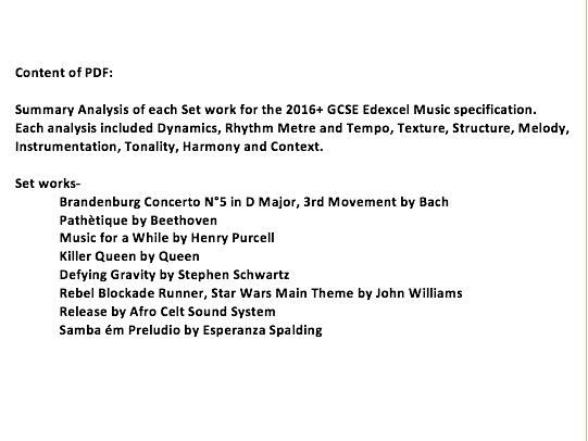 Music Edexcel Set Work Revision GCSE