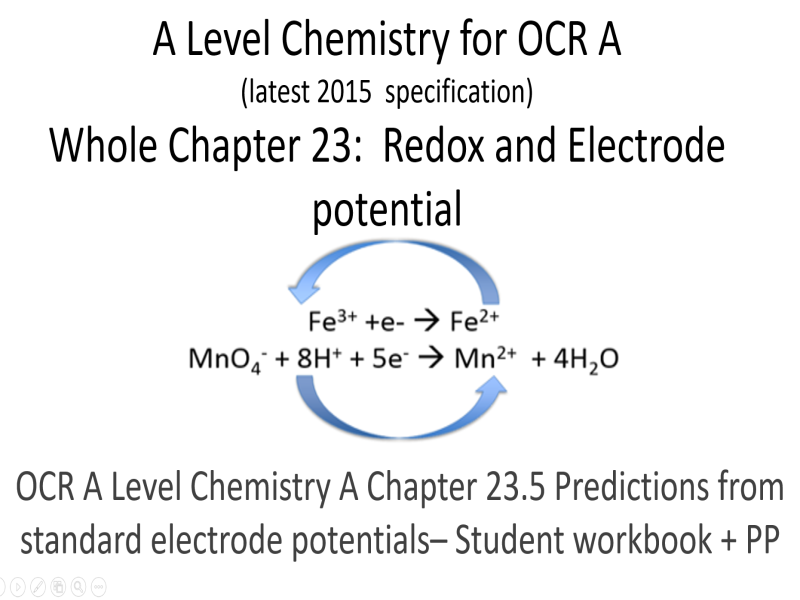 A Level Chemistry for OCR A  Chapter 23.5 Predictions from E