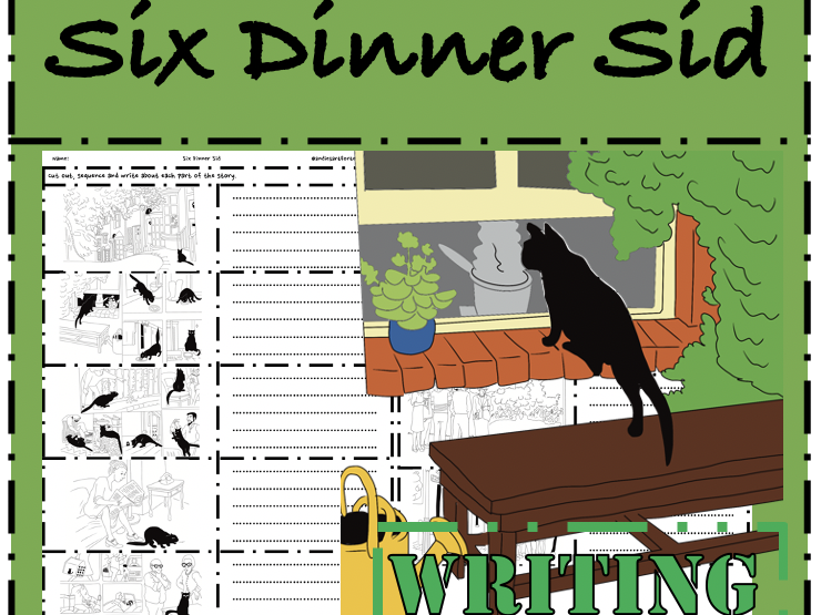 Six Dinner Sid Writing: Cut, sequence & write to retell the story
