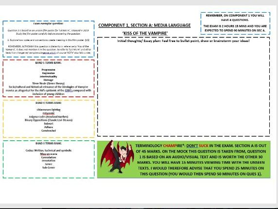 COMPONENT 1, SECTION A MASTERY EDUQAS A-LEVEL SHEETS: 'KISS OF THE VAMPIRE' (MEDIA LANGUAGE)