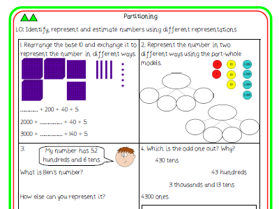6. Partitioning differentiated worksheet (Y4 NPV)