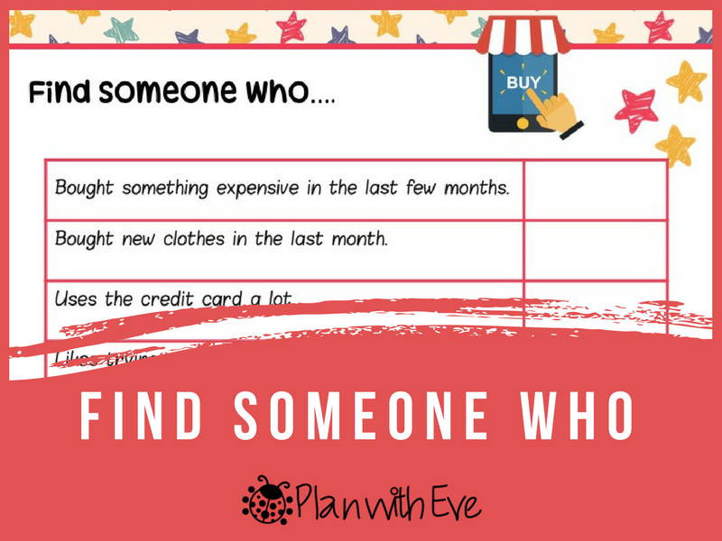 Vocabulary: Shopping - Find Someone Who!