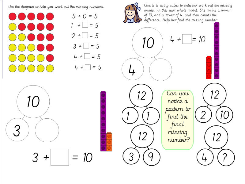 Year 1 Missing Number Calcuations Using Part Whole Models and Cubes