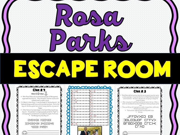 Rosa Parks Escape Room - Black History Month and Civil Rights Movement