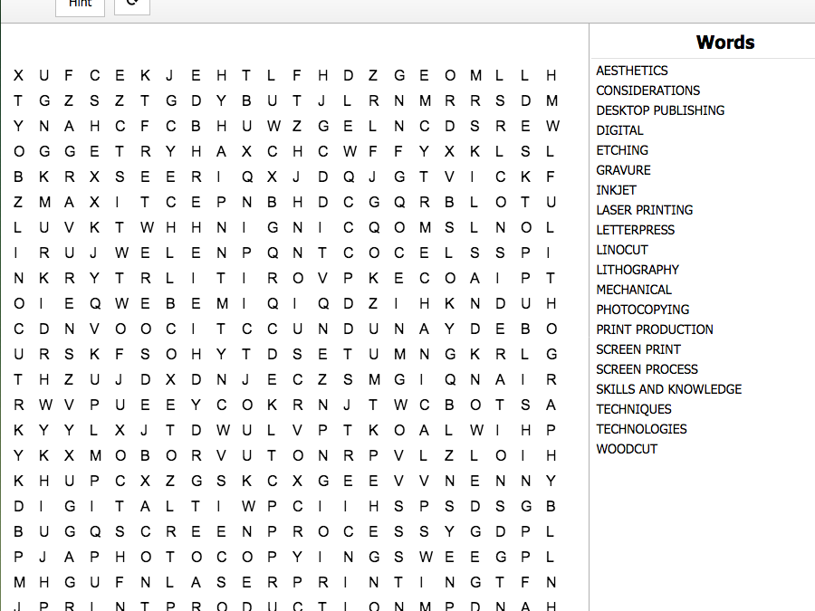 Creative Media Production Level 2 Unit 6 LO1 Interactive Word Search
