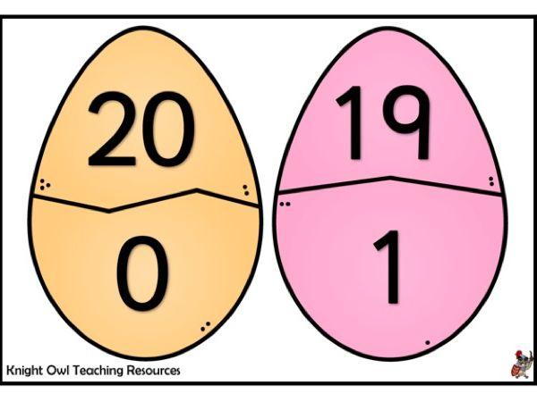 Easter Egg Number Bonds for 20