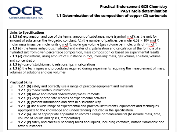 ocr as level chemistry coursework