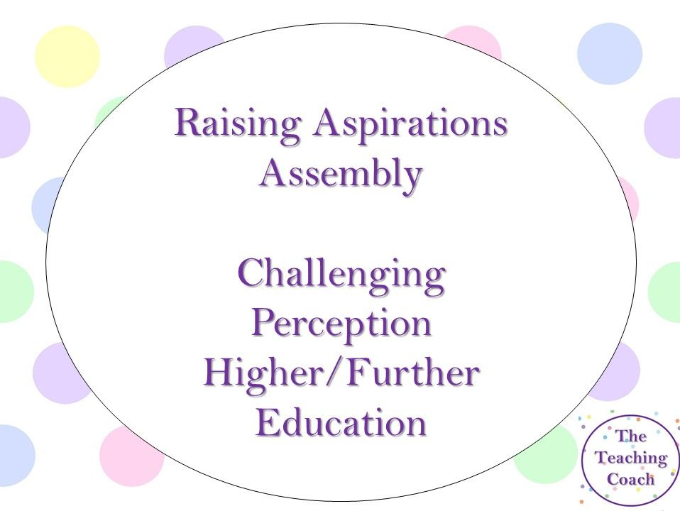 Raising Aspirations  - Further Higher Education - Challenging Perceptions - GCSE KS4 Assembly