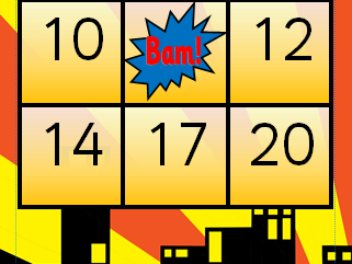 Superhero Bingo numbers 1-20 with hand drawn DC Marvel logo counters Early Maths Games KS1 & EYFS