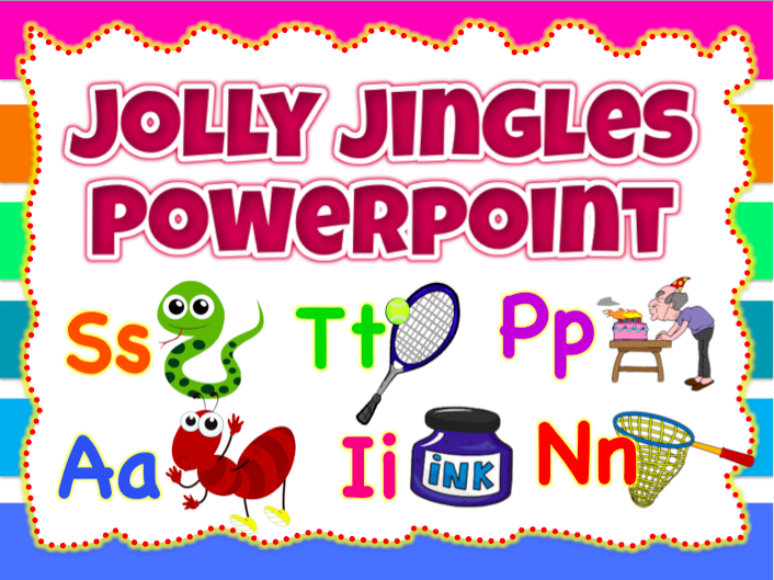 Jolly Jingles Wall decor, Flashcards Powerpoint/ Jolly Phonics (44 slides)