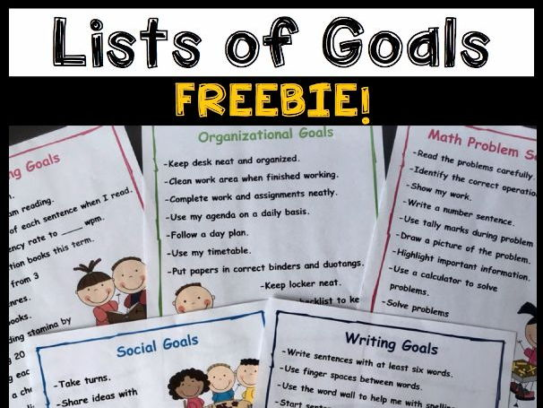 Goal Setting For Students - Lists of Goals FREEBIES!